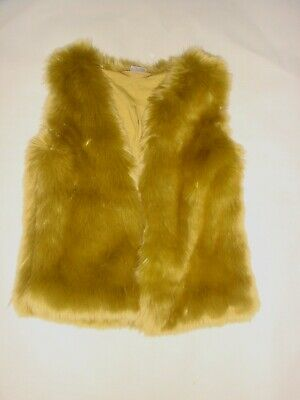 01 NEXT Girls Chartreuse Yellow Green Sleeveless Faux Fur Gilet Waistcoat 3/4 Yr