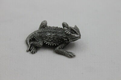 "1.75"" Tom McCain Horny Toad Pewter Figure Statue Sculpture 1998 Lizard Small"