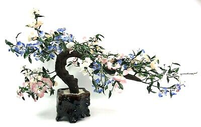 Vintage 32'' Large Asian, Chinese Bonsai Tree w Glass Leaves & Flowers