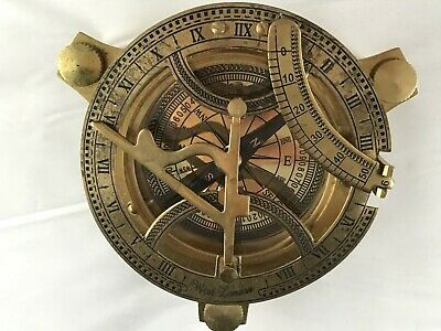 "Brass Sundial Compass 5"" Nautical Maritime Antique Vintage Style Sun Dial Gift"