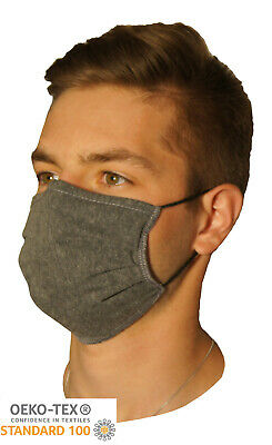 2 x ADULT Face Mask 3 Layer Certified Cotton Nose Clip Washable Reusable UK