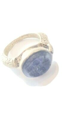 Nice ancient sasanian silver seal ring with lapis stone