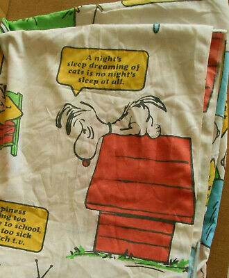 Vintage Snoopy Peanuts Twin Flat Sheet Penneys Happiness Is Charlie Brown