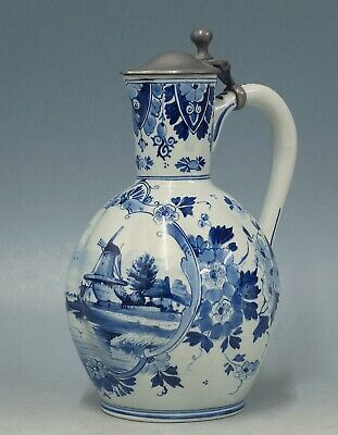 @ PERFECT @ antique handpainted Porceleyne Fles Delft jug with pewter lid 1892