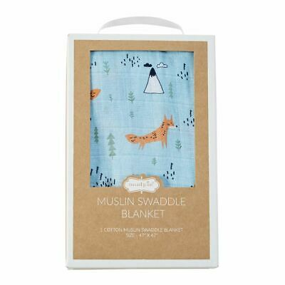 """Muslin Fox Swaddle Blanket for Baby from Mud Pie 47"""" x 47"""""""