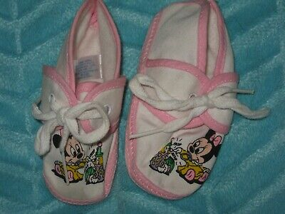 NEW Vintage 1984 Disney Minnie Mouse Infant Baby Booties Shoes Newborn