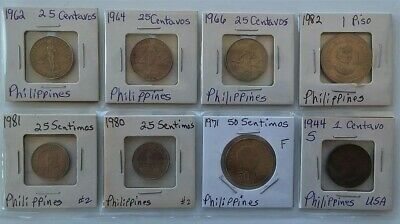Plastic Sheet of 8 different Circulated Philippines Coins