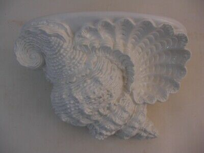 Lg Ornate Porcelain Sea Shell Wall Bracket Shelf Made in Italy for Beach House!