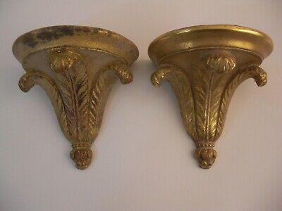 Pair Prince of Wales Plume Wall Bracket Shelves French Italy Grand Tour Style
