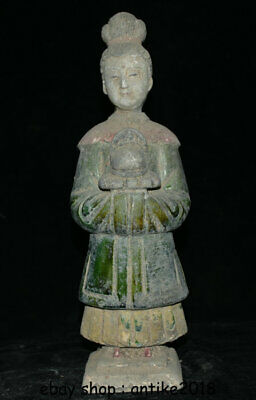"""11.6"""" Old Chinese Ming Sancai Pottery Dynasty Beauty Soldier Official Statue"""