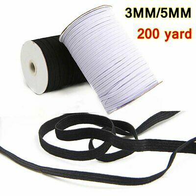 200 yards Braided Elastic Band Cord Knit 3MM 5MM Stretch DIY Sewing In Stock