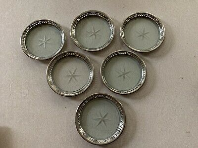 Antique Cut Glass Silver Plated Filigree Pierced Coasters Set 6 Manning Bowman
