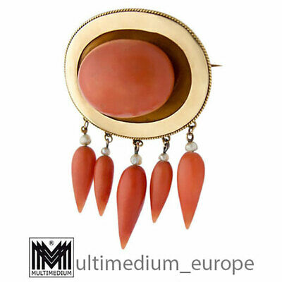 Antike Biedermeier 750 18K Gold Brosche Koralle antique coral brooch 🌺🌺🌺🌺🌺