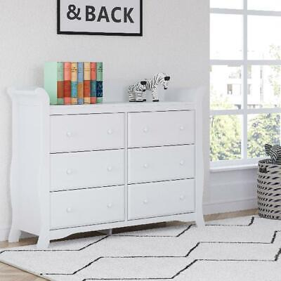 6-Drawer Dresser Table White Spacious Storage Unit Shelf Bins Chest Organizer