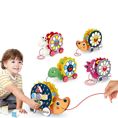 Snail Hand Pull Drag Rope Tractor Car Building Block Toddler Baby Toy Candy