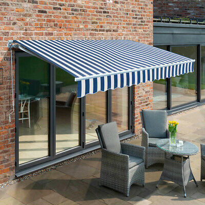 Garden Patio DIY Manual Awning Canopy Sun Shade Shelter Retractable Top Fabric