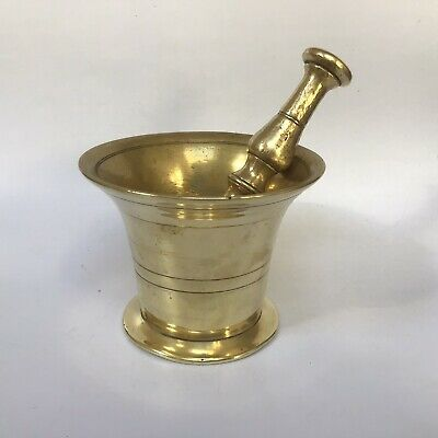 Antique Georgian Brass Small Pestle & Mortar Double Ended Pestle Over 1kg #3