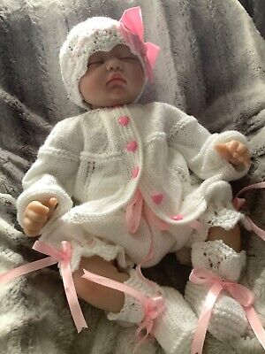 hand knitted baby girl 0-3mths reborn 4 pc pink & white lace and ribbon outfit