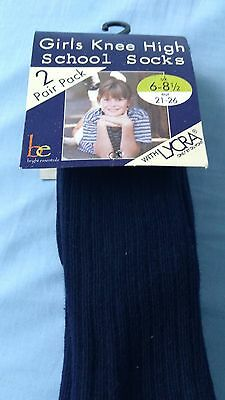 2 packs of girls boys navy 2 pack knee school socks BNIP size 6-8.5 euro 21 -26