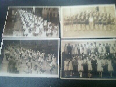 4 Old Antique Vtg Photographs Large Groups of People Great Clothing Antique Car