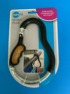 Safe Fit Stroller Hook Holds purses, shopping bags and more.