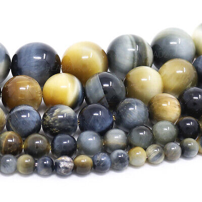 "Golden Blue Tiger Eye Beads Round 4mm 6mm 8mm 10mm 12mm 15.5"" Strand"