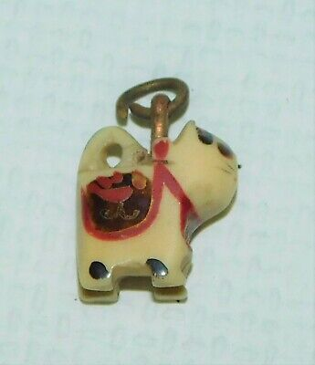 Miniature vintage carved Kitty Cat Hand decorated pendant