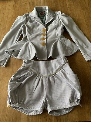 No Added Sugar  Kids Designer Outfit Jacket & Shorts Silver Stripe 5-6 Years