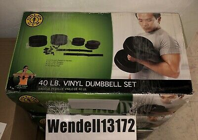 GOLD'S GYM Adjustable Vinyl Dumbbell Set 40lb Weight Barbell Plates Home Workout
