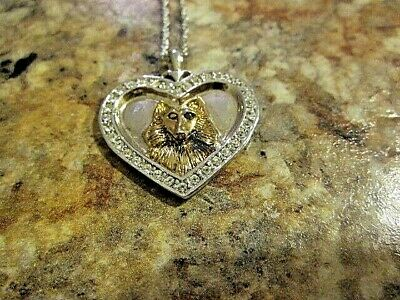 """Sterling Silver 18"""" necklace And """"I Love My Sheltie"""" Pendant Marked BGE925 (37)"""