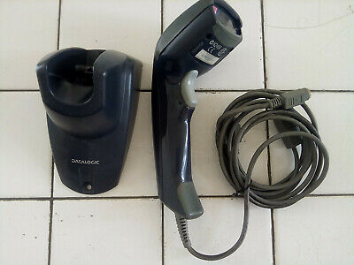 Datalogic Heron D130 Grey PS/2 Barcode Laser Handheld Scanner with stand.