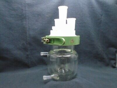 CHEMGLASS 300mL Glass Jacketed Reaction Vessel Body Lid Adapters & Clamp CG-1926
