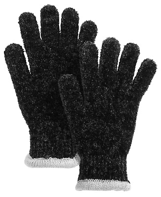 Charter Club Soft & Cozy Chenille Knit Gloves Black and Gray One Size NWT