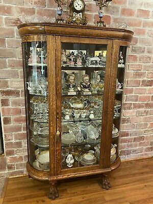 Antique Victorian Oak China Cabinet Curio Lion Paw Mirrored Back
