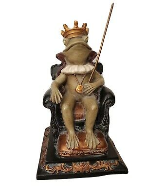 "Frog Prince/King on Throne with Crown and Sheppard's hook 8"" Tall Resin"