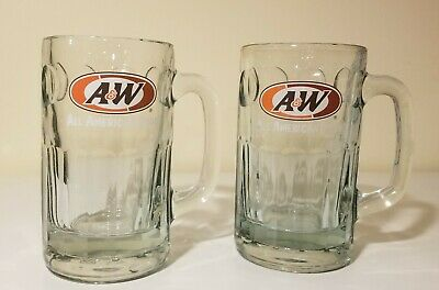 2 Vintage A&W All American Food Root Beer Soda Glass Mugs Pint 0.4L