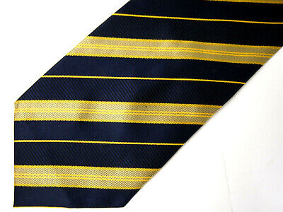 Hugo Boss Mens Necktie Tie Navy Blue Gold Striped Silk Wide 58""