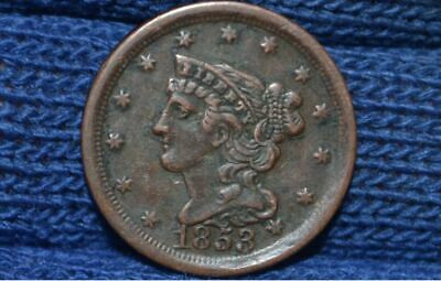 1853 Half Cent** Xf+/Au ** Nice Brown **