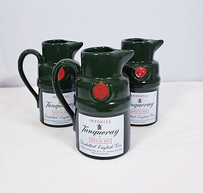 Vintage 1970's Tanqueray Gin Ceramic Jug Bar 3 Pitchers