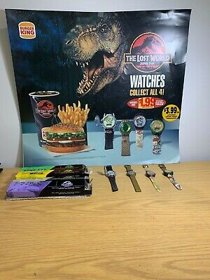 1997 Burger King,Jurassic Park the Lost World Poster & complete set of Watches