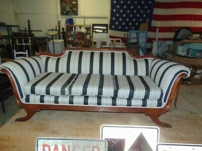 Early American Mahogany Scrolled Sofas W/Brass Capped Lions Feet