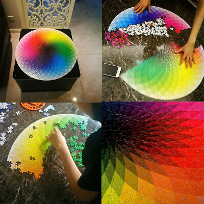 Jigsaw 1000 Pieces Colorful Rainbow Round Educational Puzzle Adult Toy