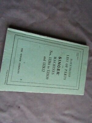 Vintage Singer Sewing-Illustrated Parts Manual 132K6 To 132K10+132K12