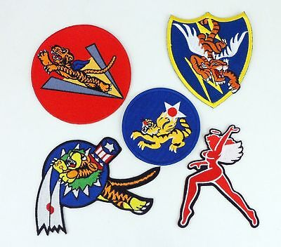 5PCS SET WWII US FLYING TIGERS PATCH US AVG PATCH AMERICAN VOLUNTEER GROUP PATCH