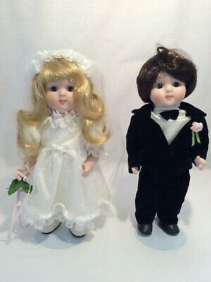 "Vintage CHSN La Collection Heirloom 1988 Bride & Groom Dolls 10"" lot of 2, Box"