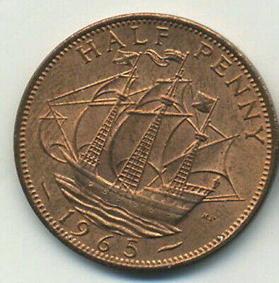 Great Britain 1/2  Half Penny 1965 Bronze UNC. Uncirculated