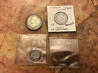 1904 Silver Coins Of Panama Lot Of 4