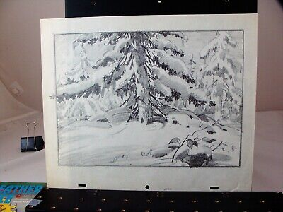 6 pencil background lay out drawings attributed to MGM Studios circa 1940's