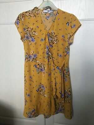M&S  Marks & Spencers Girls 8-9 Years yellow blue lilac floral wrap dress frill