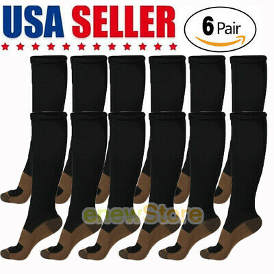 6 PAIRs Copper Infused Energy Compression Fit Socks For Nurses Men & Women L/XL